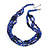 3 Strand Layered Glass/ Shell Bead Necklace In Dark Blue/ Violet Blue with Silver Tone Closure - 50cm L/ 6cm Ext