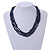 3 Strand Layered Glass/ Shell Bead Necklace In Dark Blue with Silver Tone Closure - 50cm L/ 6cm Ext - view 2