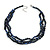 3 Strand Layered Glass/ Shell Bead Necklace In Dark Blue with Silver Tone Closure - 50cm L/ 6cm Ext - view 3