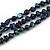 3 Strand Layered Glass/ Shell Bead Necklace In Dark Blue with Silver Tone Closure - 50cm L/ 6cm Ext - view 4