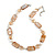Light Caramel Glass Bead, Sandy Brown Shell, Cream Freshwater Pearl Necklace with Silver Tone Closure - 44cm L/ 5cm Ext