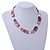 Light Grey Glass Bead, Ox Blood Shell, Cream Freshwater Pearl Necklace with Silver Tone Closure - 44cm L/ 5cm Ext - view 2