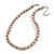 10mm Classic Beige Glass Bead Necklace with Silver Tone Closure - 44cm L/ 6cm Ext