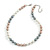 10mm Classic Beige/ White/ Grey Glass Bead Necklace with Silver Tone Closure - 44cm L/ 6cm Ext