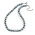 10mm Classic Grey Glass Bead Necklace with Silver Tone Closure - 44cm L/ 6cm Ext
