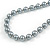 10mm Classic Grey Glass Bead Necklace with Silver Tone Closure - 44cm L/ 6cm Ext - view 4