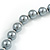 10mm Classic Grey Glass Bead Necklace with Silver Tone Closure - 44cm L/ 6cm Ext - view 5