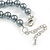 10mm Classic Grey Glass Bead Necklace with Silver Tone Closure - 44cm L/ 6cm Ext - view 6
