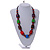 Chunky Multicolured Bone and Wood Bead Black Cord Necklace - 62cm Long - view 2