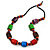 Chunky Multicolured Bone and Wood Bead Black Cord Necklace - 62cm Long - view 3