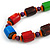 Chunky Multicolured Bone and Wood Bead Black Cord Necklace - 62cm Long - view 4