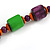 Chunky Multicolured Bone and Wood Bead Black Cord Necklace - 62cm Long - view 5