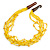 Ethnic Multistrand Yellow Glass Bead, Semiprecious Stone Necklace With Wood Hook Closure - 60cm L