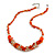 Stylish Cluster Shell and Glass Bead with Crystal Ring Necklace In Silver Tone (Orange) - 45cm L/ 5cm Ext