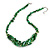 Stylish Cluster Shell and Glass Bead with Crystal Ring Necklace In Silver Tone (Green) - 45cm L/ 5cm Ext