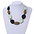 Statement Geometric Resin Bead Necklace In Silver Tone (Mint, Olive, Black) - 49cm L/ 6cm Ext - view 3