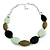 Statement Geometric Resin Bead Necklace In Silver Tone (Mint, Olive, Black) - 49cm L/ 6cm Ext - view 4