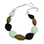 Statement Geometric Resin Bead Necklace In Silver Tone (Mint, Olive, Black) - 49cm L/ 6cm Ext