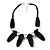 Statement Chunky Black Wood Bead and Silver Ball Cotton Cord Necklace - 51cm L/ 5cm Ext - view 8