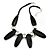 Statement Chunky Black Wood Bead and Silver Ball Cotton Cord Necklace - 51cm L/ 5cm Ext