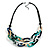 Trendy Multicoloured with Marble Effect Acrylic Large Oval Link Black Cord Necklace - 60cm L/ 5cm Ext - view 9