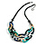 Trendy Multicoloured with Marble Effect Acrylic Large Oval Link Black Cord Necklace - 60cm L/ 5cm Ext - view 3