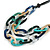 Trendy Multicoloured with Marble Effect Acrylic Large Oval Link Black Cord Necklace - 60cm L/ 5cm Ext - view 5
