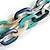 Trendy Multicoloured with Marble Effect Acrylic Large Oval Link Black Cord Necklace - 60cm L/ 5cm Ext - view 6