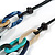 Trendy Multicoloured with Marble Effect Acrylic Large Oval Link Black Cord Necklace - 60cm L/ 5cm Ext - view 10