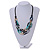 Trendy Multicoloured with Marble Effect Acrylic Large Oval Link Black Cord Necklace - 60cm L/ 5cm Ext - view 11
