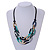 Trendy Multicoloured with Marble Effect Acrylic Large Oval Link Black Cord Necklace - 60cm L/ 5cm Ext - view 2