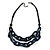 Trendy Dark Blue with Marble Effect Acrylic Large Oval Link Black Cord Necklace - 60cm L/ 5cm Ext - view 2