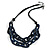 Trendy Dark Blue with Marble Effect Acrylic Large Oval Link Black Cord Necklace - 60cm L/ 5cm Ext - view 4