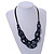 Trendy Dark Blue with Marble Effect Acrylic Large Oval Link Black Cord Necklace - 60cm L/ 5cm Ext - view 3