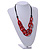 Trendy Red with Marble Effect Acrylic Large Oval Link Black Cord Necklace - 60cm L/ 5cm Ext - view 2