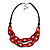 Trendy Red with Marble Effect Acrylic Large Oval Link Black Cord Necklace - 60cm L/ 5cm Ext - view 8