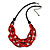 Trendy Red with Marble Effect Acrylic Large Oval Link Black Cord Necklace - 60cm L/ 5cm Ext - view 3