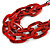 Trendy Red with Marble Effect Acrylic Large Oval Link Black Cord Necklace - 60cm L/ 5cm Ext - view 4