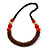 Chunky Ball and Button Wood Bead Necklace in Brown/ Red/ Orange/ Black - 70cm Long