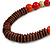 Chunky Ball and Button Wood Bead Necklace in Brown/ Red/ Orange/ Black - 70cm Long - view 3