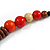 Chunky Ball and Button Wood Bead Necklace in Brown/ Red/ Orange/ Black - 70cm Long - view 4