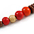Chunky Ball and Button Wood Bead Necklace in Brown/ Red/ Orange/ Black - 70cm Long - view 6