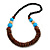 Chunky Ball and Button Wood Bead Necklace in Brown/ Light Blue/ Natural/ Black - 70cm Long