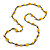 Long Yellow Wood, Bone Beaded Black Cord Necklace - 106cm L