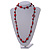Long Red Wood, Bone Beaded Black Cord Necklace - 106cm L - view 2