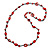 Long Red Wood, Bone Beaded Black Cord Necklace - 106cm L - view 3