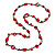 Long Red Wood, Bone Beaded Black Cord Necklace - 106cm L