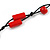 Long Red Wood, Bone Beaded Black Cord Necklace - 106cm L - view 4