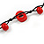 Long Red Wood, Bone Beaded Black Cord Necklace - 106cm L - view 5