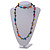 Long Multicoloured Wood, Bone Beaded Black Cord Necklace - 106cm L - view 2